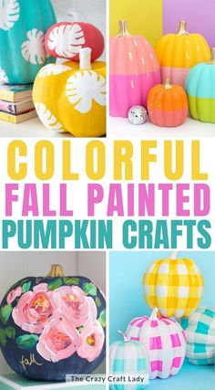 creative and colorful painted pumpkin ideas Fall Pumpkin Crafts, Fall Crafts, Diy And Crafts, Pumpkin Ideas, Faux Pumpkins, Painted Pumpkins, Diy Halloween Decorations, Halloween Crafts, Halloween Party