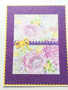 2 Handmade all occasion flower cards - bright floral - purple and yellow - embossed - blank inside by Wcards on Etsy
