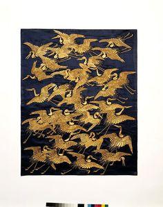 A nineteenth-century Japanese fukusa featuring cranes, symbols of longevity. (Victoria & Albert Museum)