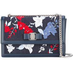 Salvatore Ferragamo Floral Denim Crossbody Bag (60.525 RUB) via Polyvore featuring bags, handbags, shoulder bags, crossbody purses, blue crossbody, blue purse, bow purse и floral purse