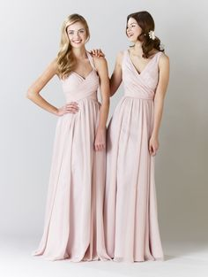 Mix and match long chiffon blush pink bridesmaid dresses for a fun & unique look! | Kennedy Blue Bridesmaid Dress Violet | Kennedy Blue