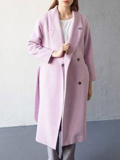 Wool Blend Solid Elegant Long Sleeve Coat With Belt