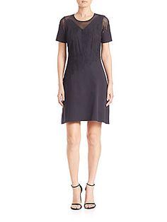 Elie Tahari Tanner A-Line Dress - Black - Size