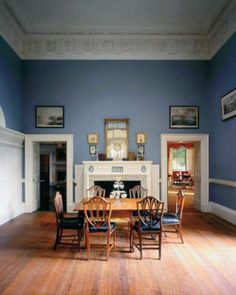 Dining room at Monticello was originally painted blue to suit tastes, rather than historical accuracy.