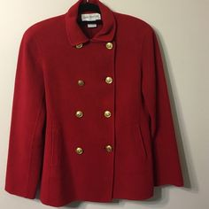 """Sunday sale Jones New York Wool /Angora Dressy ,stylish,warm,and trendy. Double chest close.Length 28"""".  Fits to sizes 8-10.  Look at picture #4 to see little damage Jones New York Jackets & Coats"""