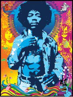 Jimi Hendrix psychadelic 60's poster