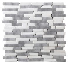 StoneSkin Dolomite and Grey Marble Peel 'n Stick Mosaic Tile Random - bathroom backsplash for upstairs?