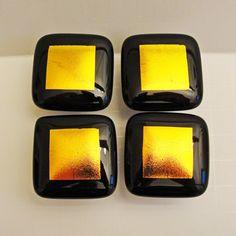 Dichroïque fusible verre bouton Cabinet boutons or par sljglass, $19.00