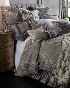 Luxury Beautiful layers of Gray & Plum various textures. bring this bed to a masterpiece