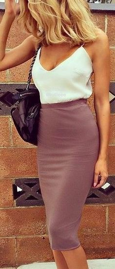 #popular #street #style #outfits #spring #2016 | White Cami + Taupe High Waisted Skirt