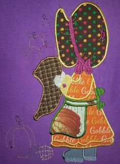 November Sunbonnet Sue machine embroidery by 4everkeepitsewunique