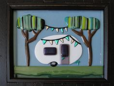 Vintage Teardrop Travel Trailer Party in the by Woods Fused Glass Camper Art Camping Glamping FlutterByButterfly, $75.00