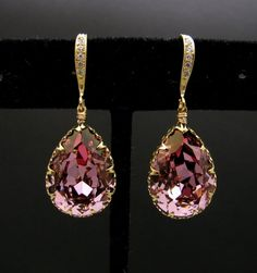 Swarovski antique pink teardrop earrings with gold by DesignByKara - StyleSays