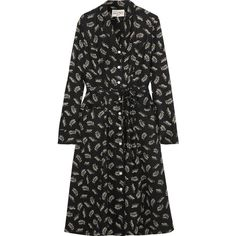 HVN Sarah printed silk-satin dress (5.600.510 IDR) ❤ liked on Polyvore featuring dresses, black, long sleeve polka dot dress, a line dress, leaf print dress, leaf dress and tie dress