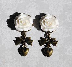 "White Rose Antiqued Bronze Girly Gauges - 00g, 1/2"", 9/16"", 5/8"" by ryarr on Etsy"