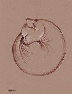 Slumber  Original Enso Zen Cat Drawing by Rebecca by BeccasPlace