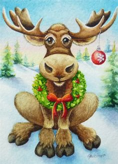 Christmas Moose Miniature Art - Limited Edition ACEO Giclee Print reproduced from the Original Watercolor Christmas Moose, Christmas Rock, Christmas Scenes, Merry Little Christmas, Christmas Animals, Vintage Christmas, Christmas Crafts, Christmas Holidays, Xmas