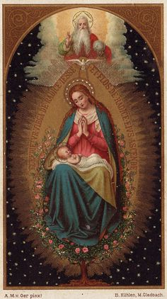 Maria Angela Grow: Lessons 8 from the Divine Office for the Solemnity of the Most Holy Rosary of the Blessed Virgin Mary: Sermon on the Aqueduct: Religious Images, Religious Icons, Religious Art, Blessed Mother Mary, Blessed Virgin Mary, Image Jesus, Immaculée Conception, Catholic Pictures, Vintage Holy Cards