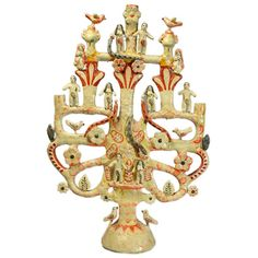 A large and impressive vintage Mexican tree of life candelabra with Adam and Eve in the Garden of Eden, the serpent, birds, angels and flower blossoms throughou Christmas Tree Logo, Ribbon On Christmas Tree, Christmas Ornaments To Make, Celtic Tree Tattoos, Pine Tree Tattoo, Ceramic Painting, Ceramic Art, Simple Tree House, Small Palm Trees