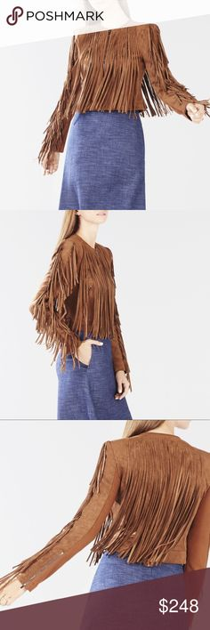 BCBGMAXAZRIA Farrell faux suede fringe jacket Tiered fringe faux suede jacket in front, back, and sleeves of garment.  Front zip closure, tailored fit, measures approx. 19.75 in. From shoulder to hem. Polyester spandex blend, fully lined. Dry clean. BCBGMaxAzria Jackets & Coats Blazers