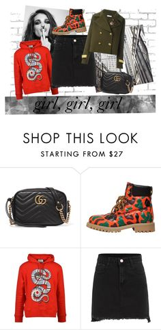 """girl girl girl"" by liekejongman on Polyvore featuring WALL, Whiteley, Gucci, Moschino and P.A.R.O.S.H."