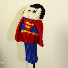 Knit PATTERN Superman Golf Club Cover PDF by TraceyKnits on Etsy