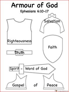 free cutouts of the armor of god - Yahoo Image Search Results Sunday School Projects, Sunday School Activities, Bible Activities, Sunday School Lessons, Group Activities, Church Activities, Bible Study For Kids, Bible Lessons For Kids, Kids Bible