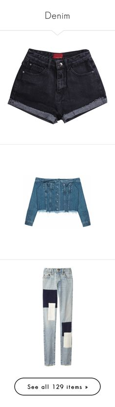 """""""Denim"""" by dear-scone ❤ liked on Polyvore featuring shorts, bottoms, black, denim short shorts, zipper pocket shorts, loose fit shorts, fringe denim shorts, pocket shorts, jeans and pants"""