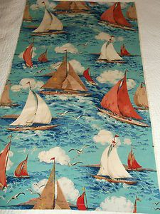 Vintage 1950's Sanderson Racing Yachts Nautical Print Mid-Century Cotton Fabric