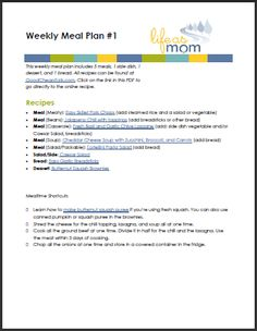 kid-friendly weekly meal plan to print and cook