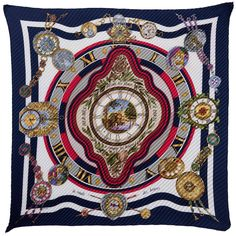 RARE! Hermes Pleated Silk Scarf 'La Ronde des Heures' & Gold Regate Scarf Ring