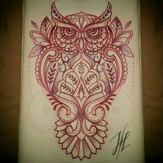 Sketching a mandala / ornamental owl, by Marjorianne