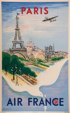 Vintage Travel Poster / Air France - Paris (MANSET, REGIS, 1950)
