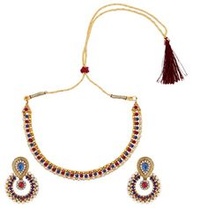 Rani pink blue pearl polki earring necklace jewelry Indian setBANE0332RB -- Click image for more details.