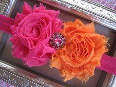 Orange and Pink Rosette Headband - Baby Girl Headband - Baby Headband - Hair Bow - Infant Headband - Newborn Headband. $9.75, via Etsy.