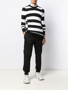 Balmain striped crewneck jumper Size Clothing, Balmain, Jumper, Crew Neck, Women Wear, Slim, Pure Products, Black And White, Long Sleeve