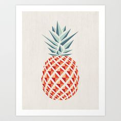Pineapple Art Print by Basilique - $16.00 ~ Pineapples mean welcome and goodbye