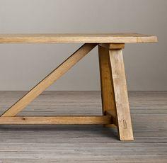 Reclaimed Russian Oak Trestle Small Rectangular Dining Table