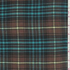Brown/Blue Plaid Gauze - Fabric By The Yard At Discount Prices