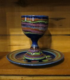 Communion Cup and Plate, D. Lasser Pottery