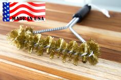 """BBQ Dudes Grill Brush 16"""" - 100% MADE IN USA -Heavy Duty Real BRASS extra wide two levels of bristles are soft safe for Porcelain Enamel grates- Compare Weber (16 inch)"""