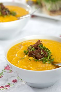 This is a rich, thick pumpkin soup, which is gently flavored with spices and herbs, for a perfectly balanced flavor. Garnish it with brown b...
