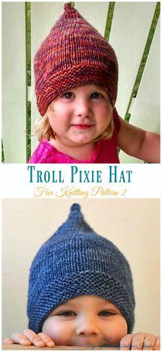 Troll Pixie Hat Knitting Free Pattern - Kids #Pixie; #Hat; Free #Knitting; Patterns