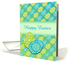 Happy Easter/Decorated Easter Eggs/Green and Blue/Custom Card