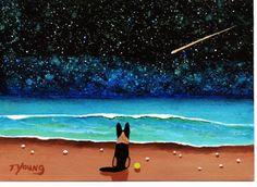 German Shepherd Dog seascape original art painting by ToddYoungArt