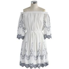 Chicwish Flowery Boho Embroidered Off-shoulder Dress ($47) ❤ liked on Polyvore featuring dresses, white, boho summer dresses, white bohemian dress, embroidery dress, white off shoulder dress and bohemian dresses