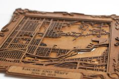 CUSTOM Laser Cut Wood Map with Personalized Frame- 8""
