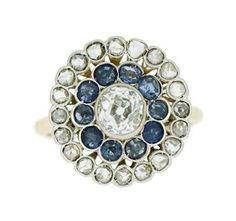 Anillo con brillantes y zafiros - Sapphires and diamonds ring