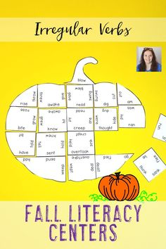 These Irregular Verb Pumpkin Puzzles are great for fall literacy centers, review, early & fast finishers, enrichment, GATE, & critical thinking skills. Great for a lesson in perseverance. With this fun game format your students will stay engaged while practicing necessary skills! Use them in your second, third, fourth, fifth, or sixth grade classroom! Low prep - just print, cut, and go! Print on cardstock & you have games that last a LONG time! {2nd, 3rd, 4th, 5th, 6th graders, upper…