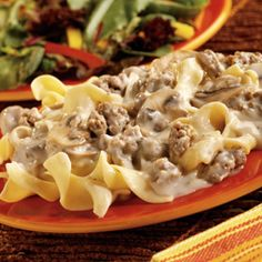 Stroganoff--this calls for sausage and mushrooms but I'd use beef and leave out the mushrooms!